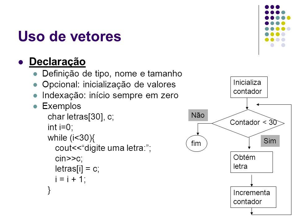 Uso de vetores Declaração Definição de tipo, nome e tamanho