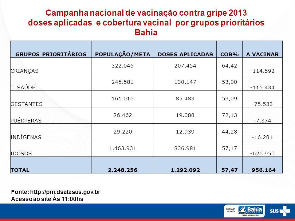Campanha nacional de vacinação contra gripe 2013 doses aplicadas e cobertura vacinal por grupos prioritários Bahia