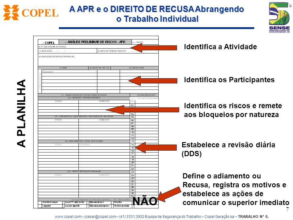 A PLANILHA NÃO Identifica a Atividade Identifica os Participantes