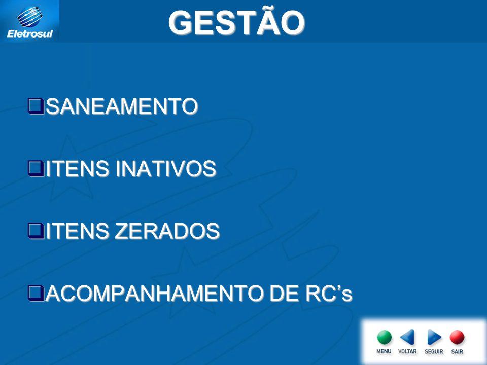 GESTÃO SANEAMENTO ITENS INATIVOS ITENS ZERADOS ACOMPANHAMENTO DE RC's
