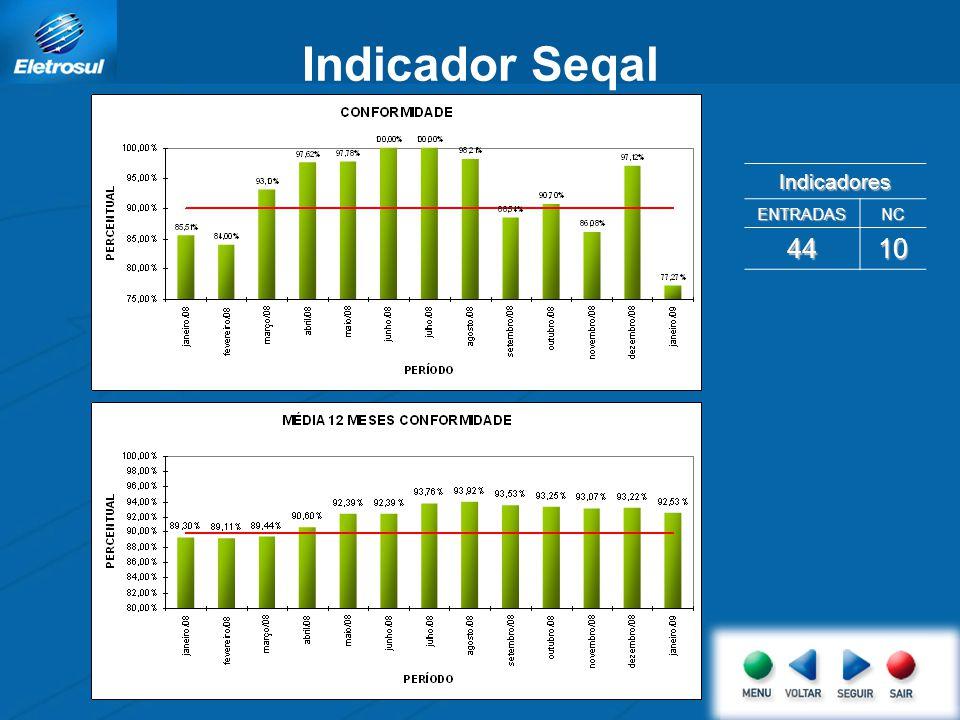 Indicador Seqal Indicadores ENTRADAS NC 44 10