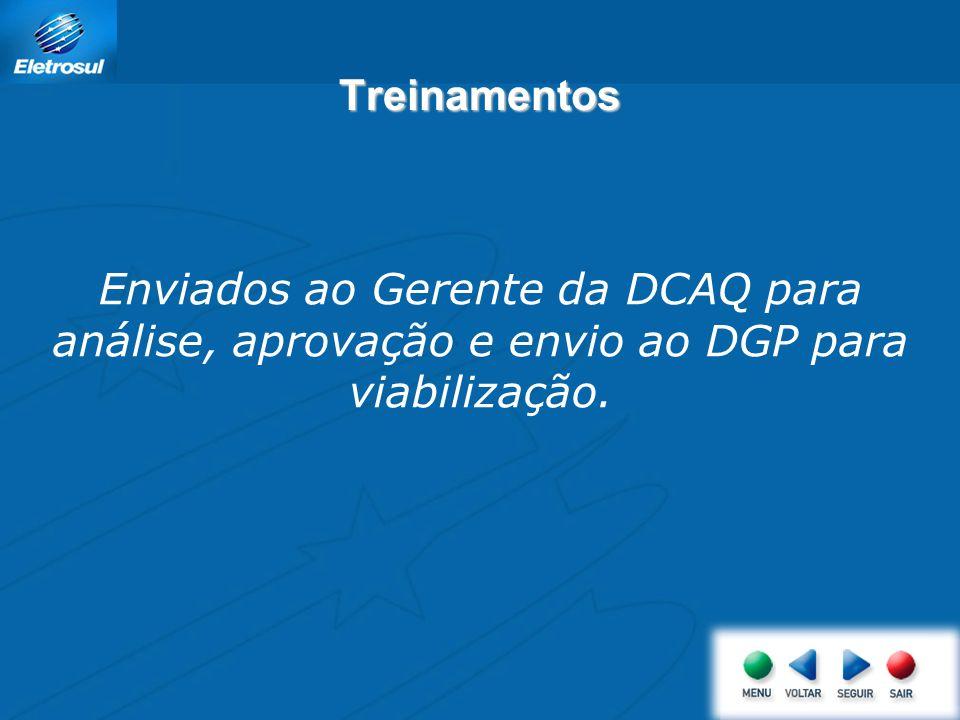 Treinamentos Enviados ao Gerente da DCAQ para análise, aprovação e envio ao DGP para viabilização.