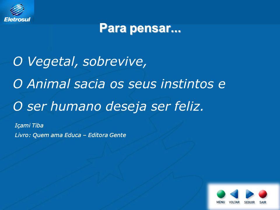 O Animal sacia os seus instintos e O ser humano deseja ser feliz.