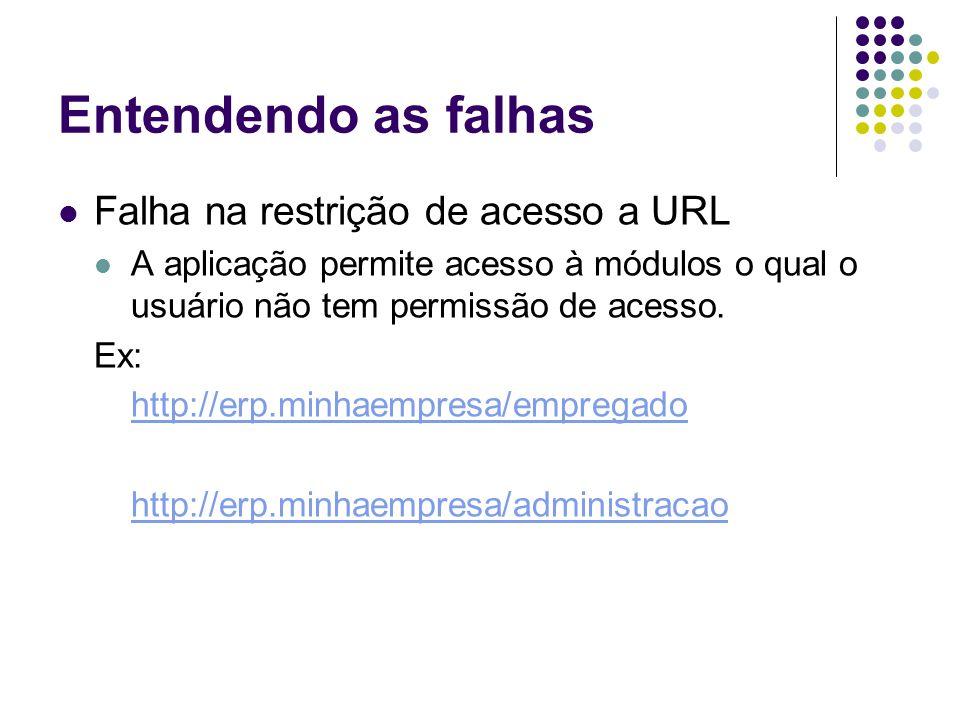 Entendendo as falhas Falha na restrição de acesso a URL