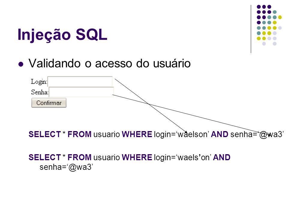 Injeção SQL Validando o acesso do usuário