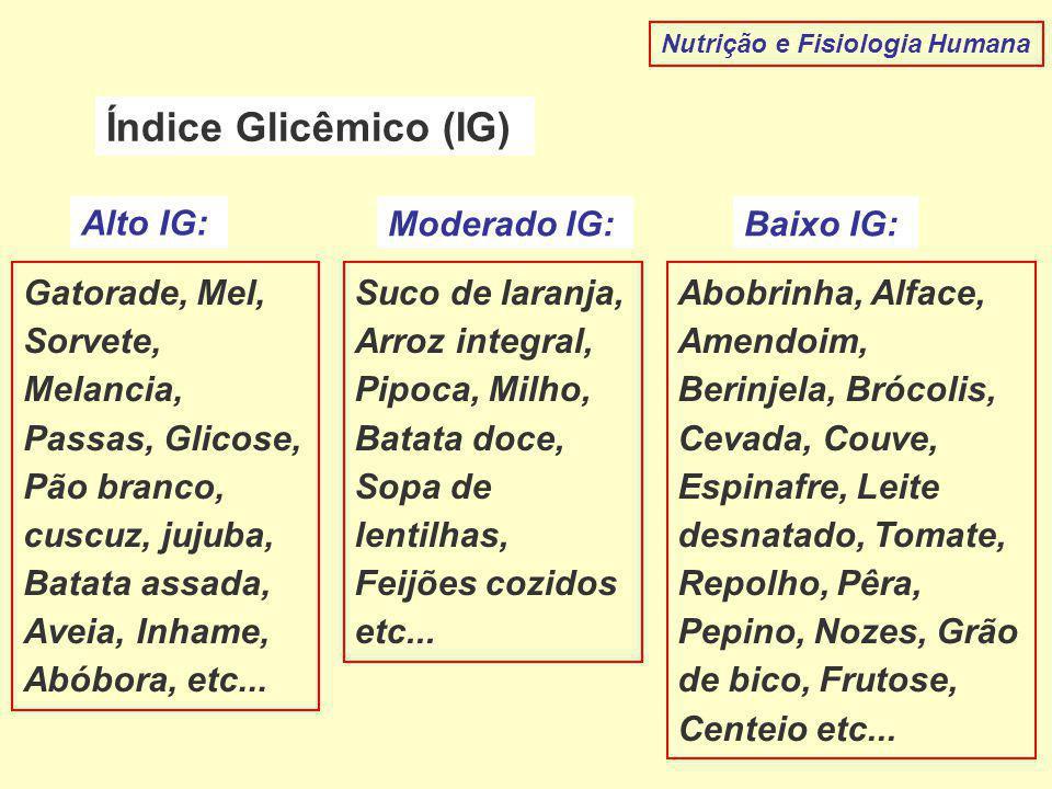 Índice Glicêmico (IG) Alto IG: Moderado IG: Baixo IG: