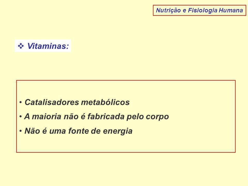 Catalisadores metabólicos A maioria não é fabricada pelo corpo
