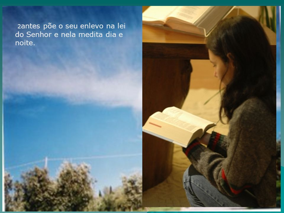 2antes põe o seu enlevo na lei do Senhor e nela medita dia e noite.