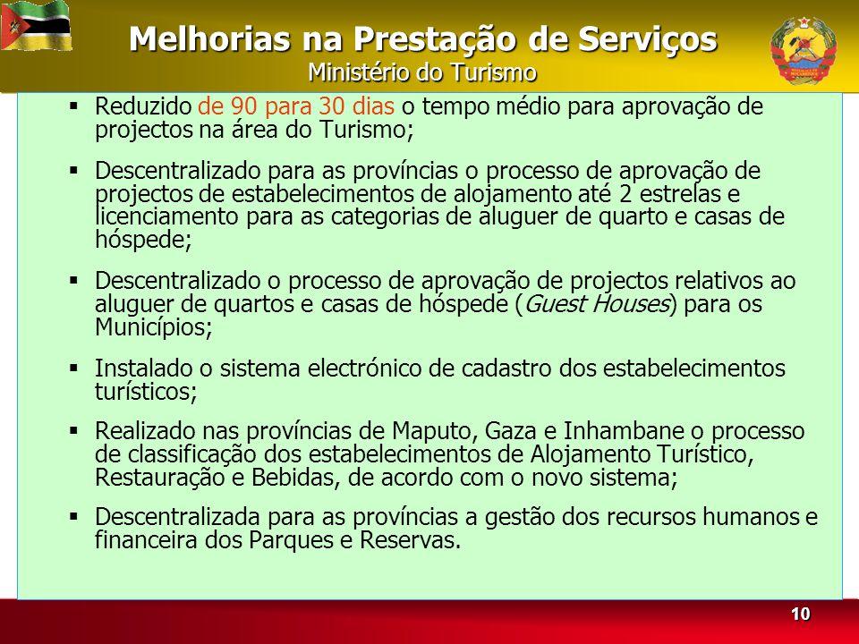 Melhorias na Prestação de Serviços Ministério do Turismo