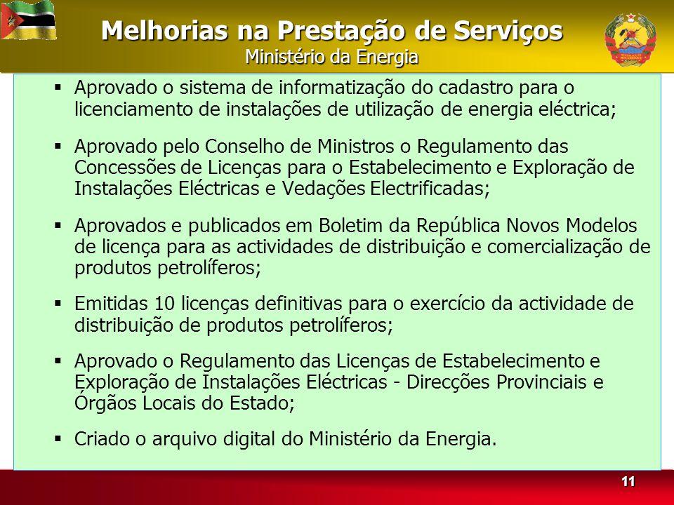 Melhorias na Prestação de Serviços Ministério da Energia