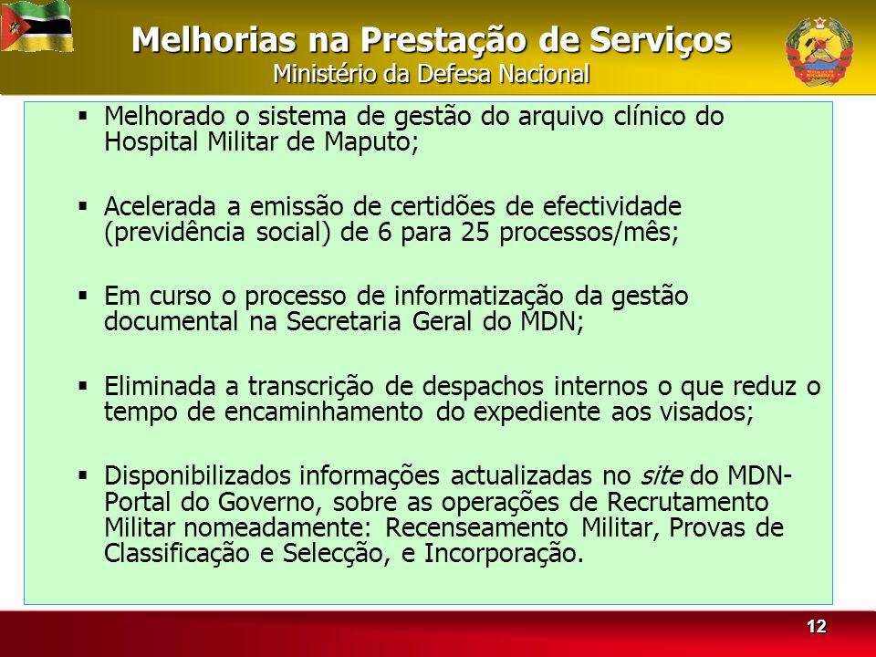 Melhorias na Prestação de Serviços Ministério da Defesa Nacional