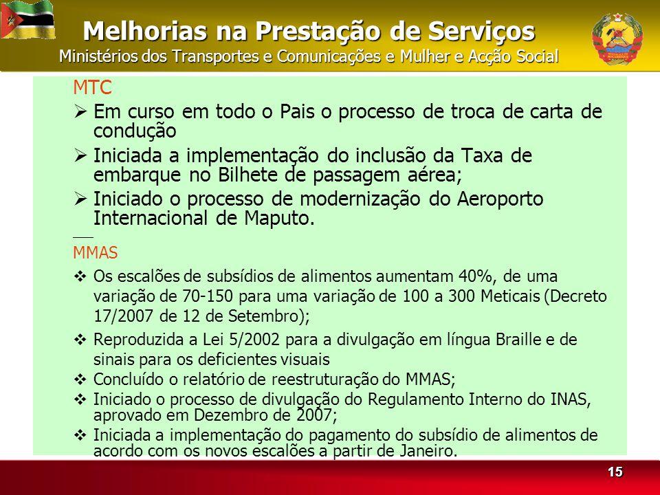 Melhorias na Prestação de Serviços Ministérios dos Transportes e Comunicações e Mulher e Acção Social