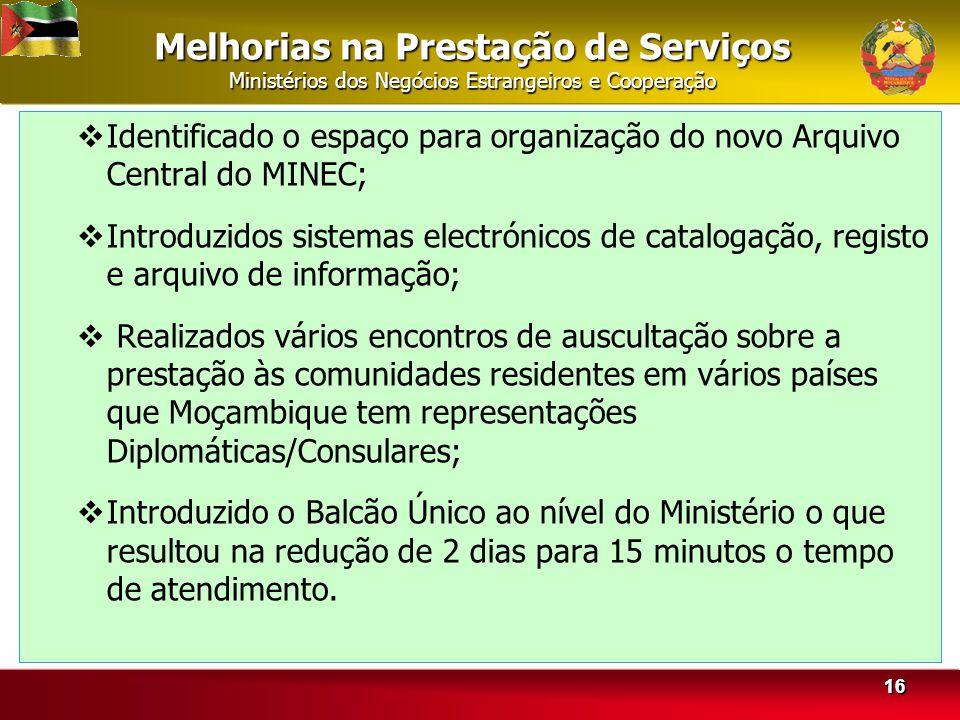 Melhorias na Prestação de Serviços Ministérios dos Negócios Estrangeiros e Cooperação