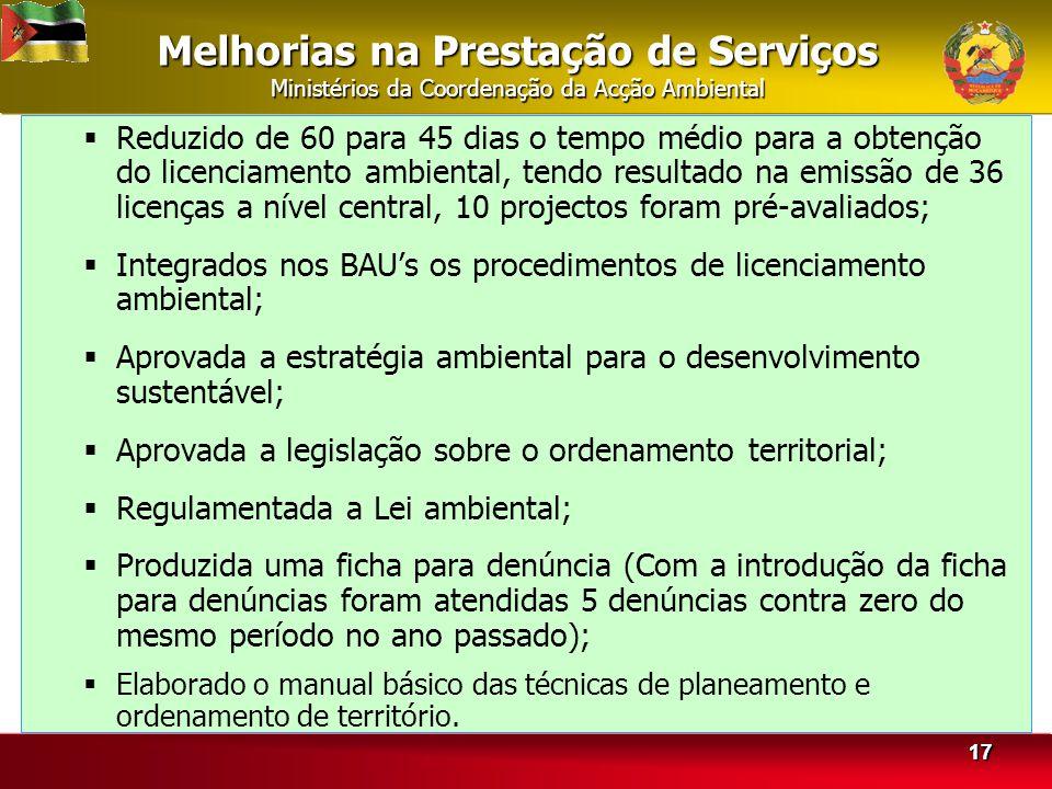 Melhorias na Prestação de Serviços Ministérios da Coordenação da Acção Ambiental