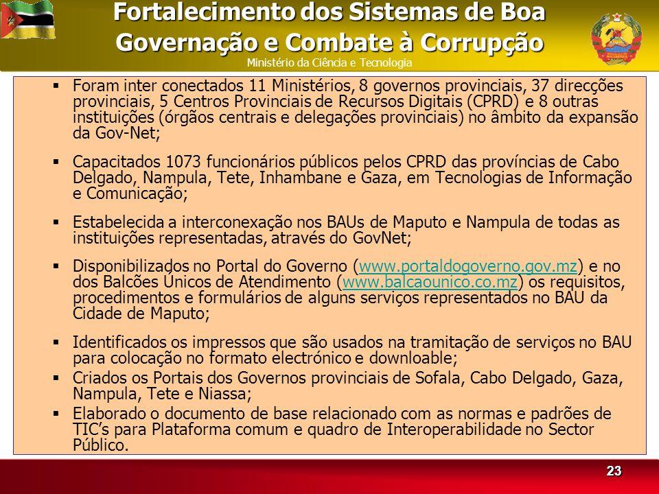 Fortalecimento dos Sistemas de Boa Governação e Combate à Corrupção Ministério da Ciência e Tecnologia