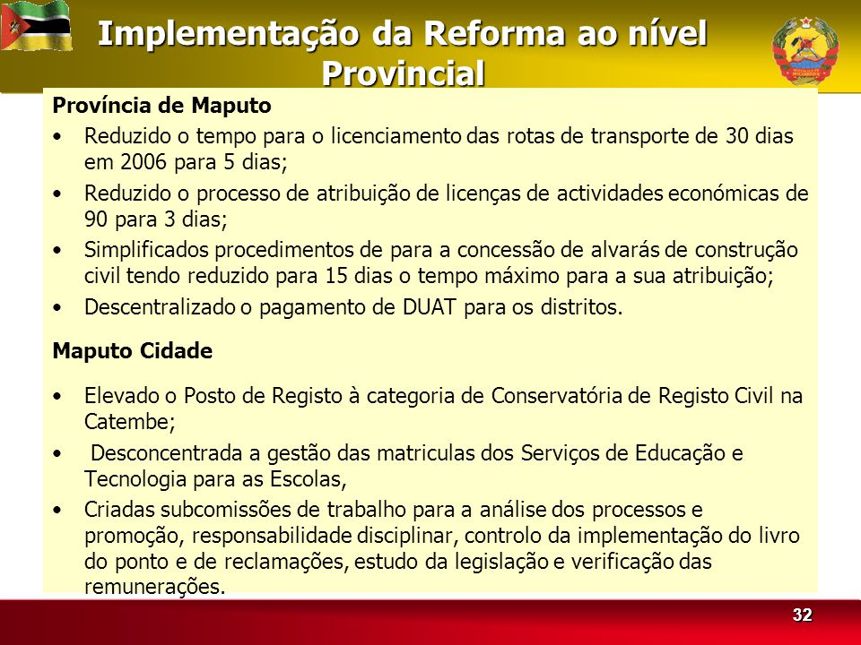 Implementação da Reforma ao nível Provincial