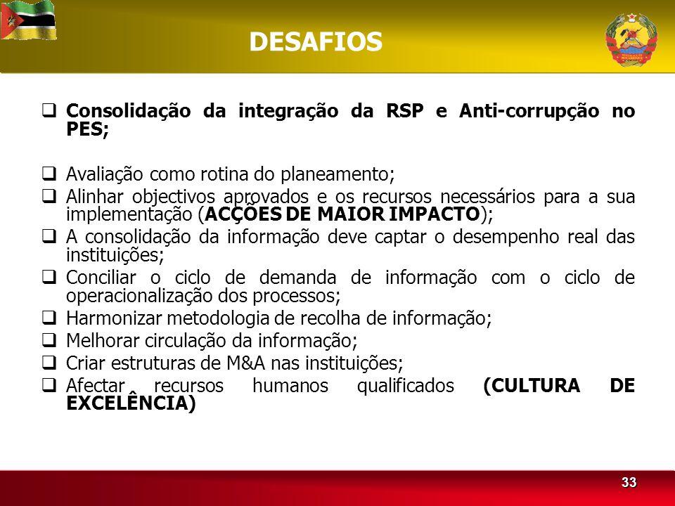 DESAFIOS Consolidação da integração da RSP e Anti-corrupção no PES;