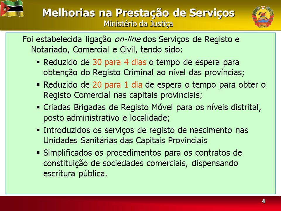 Melhorias na Prestação de Serviços Ministério da Justiça