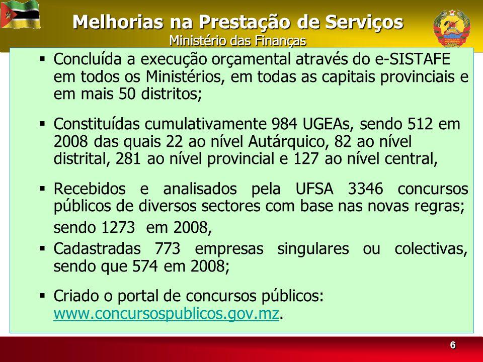 Melhorias na Prestação de Serviços Ministério das Finanças