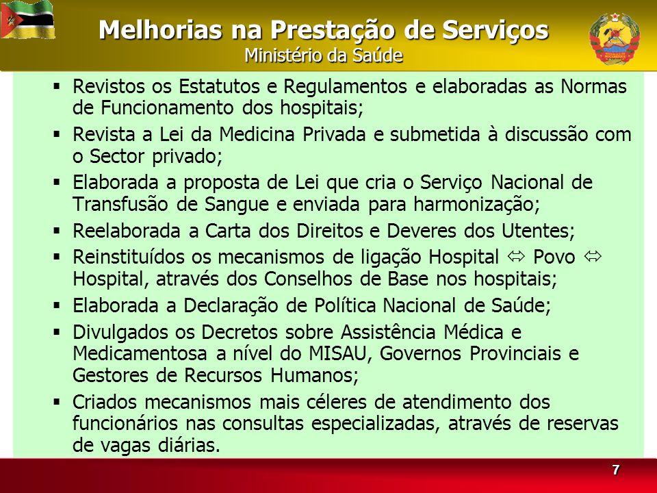 Melhorias na Prestação de Serviços Ministério da Saúde