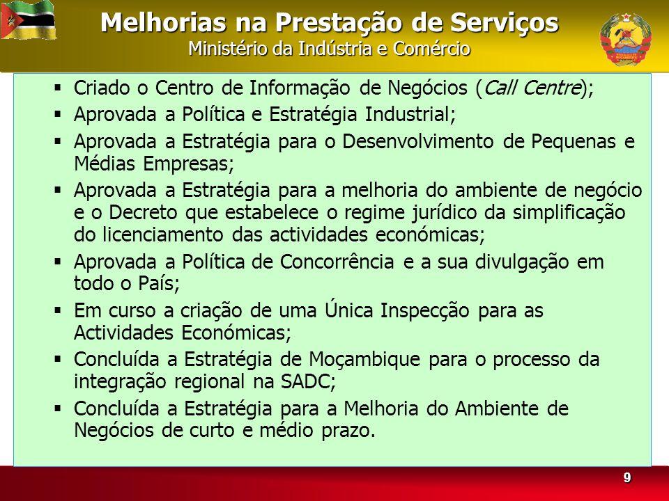 Melhorias na Prestação de Serviços Ministério da Indústria e Comércio