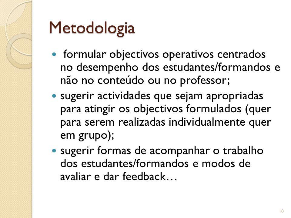 Metodologia formular objectivos operativos centrados no desempenho dos estudantes/formandos e não no conteúdo ou no professor;
