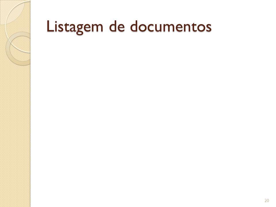 Listagem de documentos