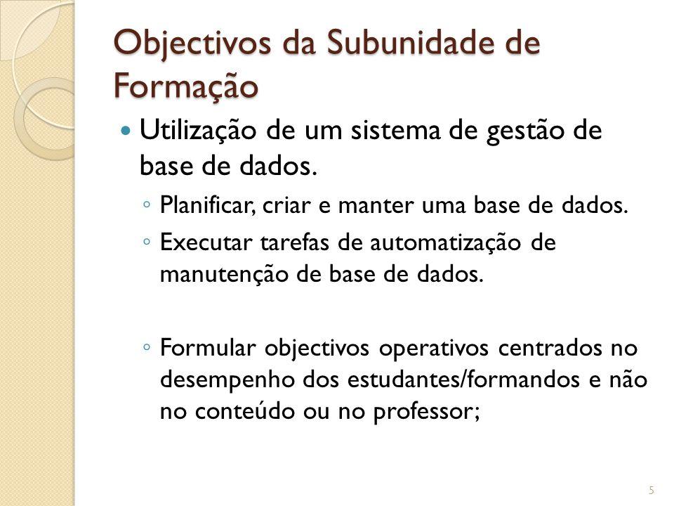 Objectivos da Subunidade de Formação