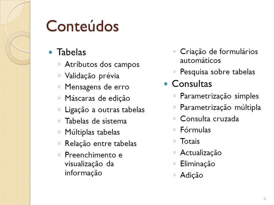 Conteúdos Tabelas Consultas Criação de formulários automáticos