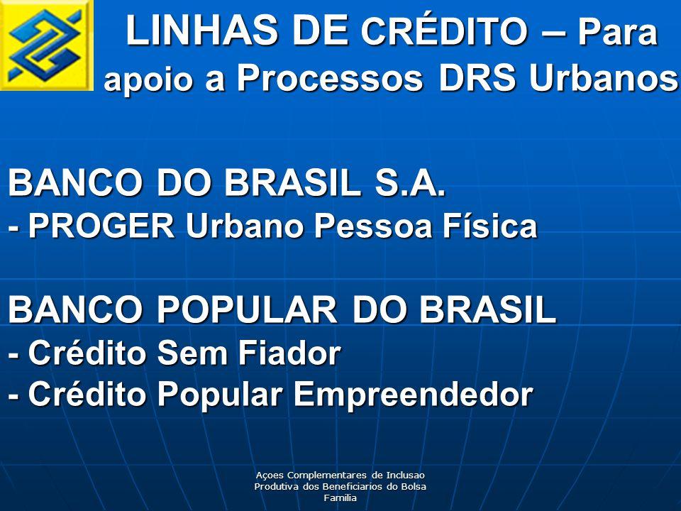 LINHAS DE CRÉDITO – Para apoio a Processos DRS Urbanos