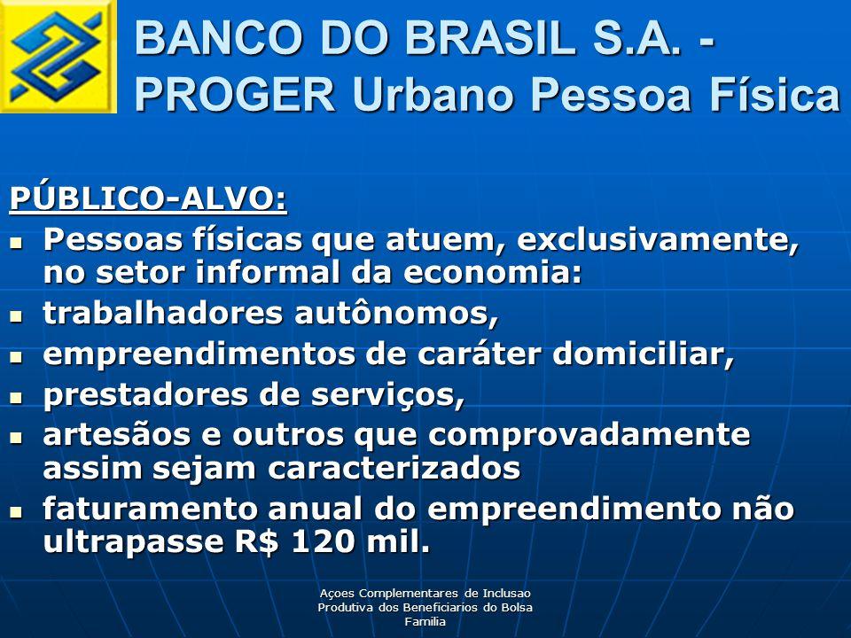 BANCO DO BRASIL S.A. - PROGER Urbano Pessoa Física