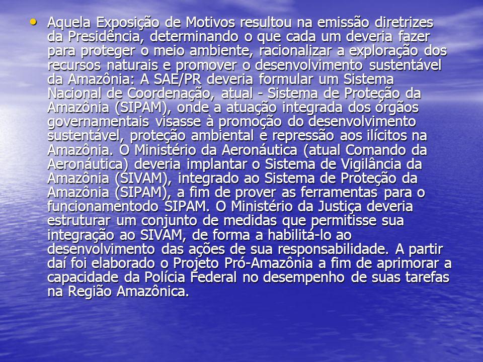 Aquela Exposição de Motivos resultou na emissão diretrizes da Presidência, determinando o que cada um deveria fazer para proteger o meio ambiente, racionalizar a exploração dos recursos naturais e promover o desenvolvimento sustentável da Amazônia: A SAE/PR deveria formular um Sistema Nacional de Coordenação, atual - Sistema de Proteção da Amazônia (SIPAM), onde a atuação integrada dos órgãos governamentais visasse à promoção do desenvolvimento sustentável, proteção ambiental e repressão aos ilícitos na Amazônia.