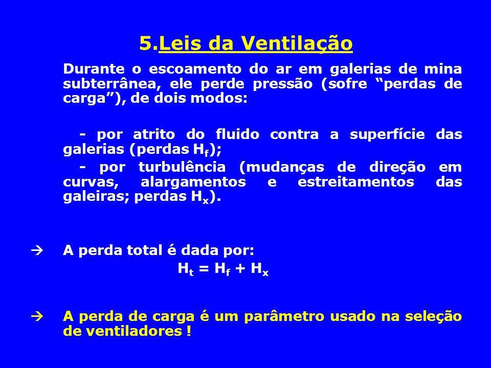 5.Leis da Ventilação Durante o escoamento do ar em galerias de mina subterrânea, ele perde pressão (sofre perdas de carga ), de dois modos: