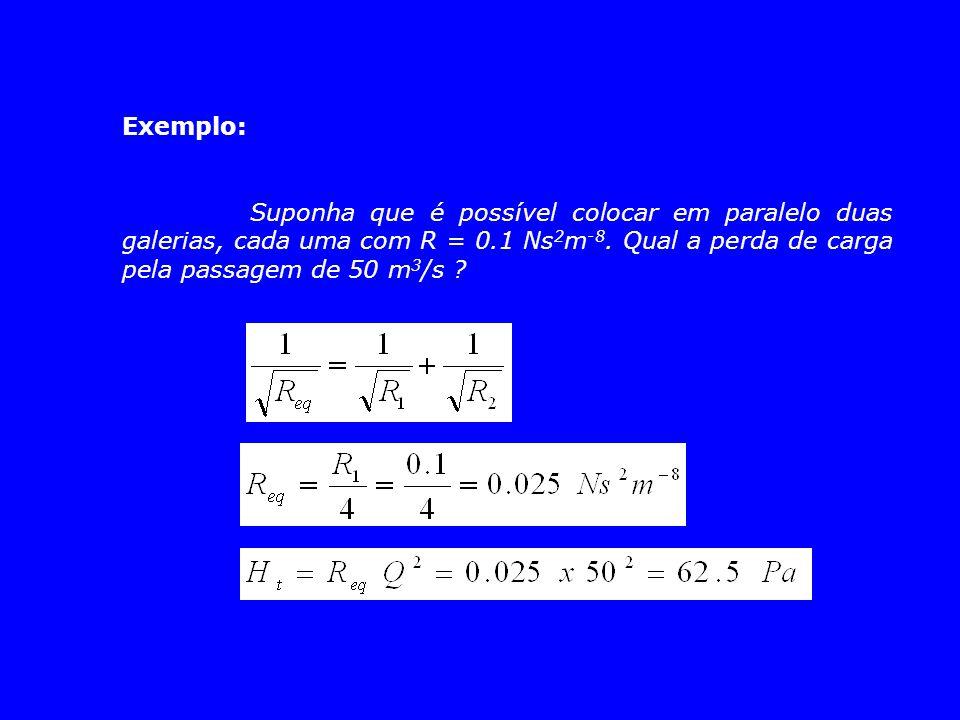 Exemplo: Suponha que é possível colocar em paralelo duas galerias, cada uma com R = 0.1 Ns2m-8.