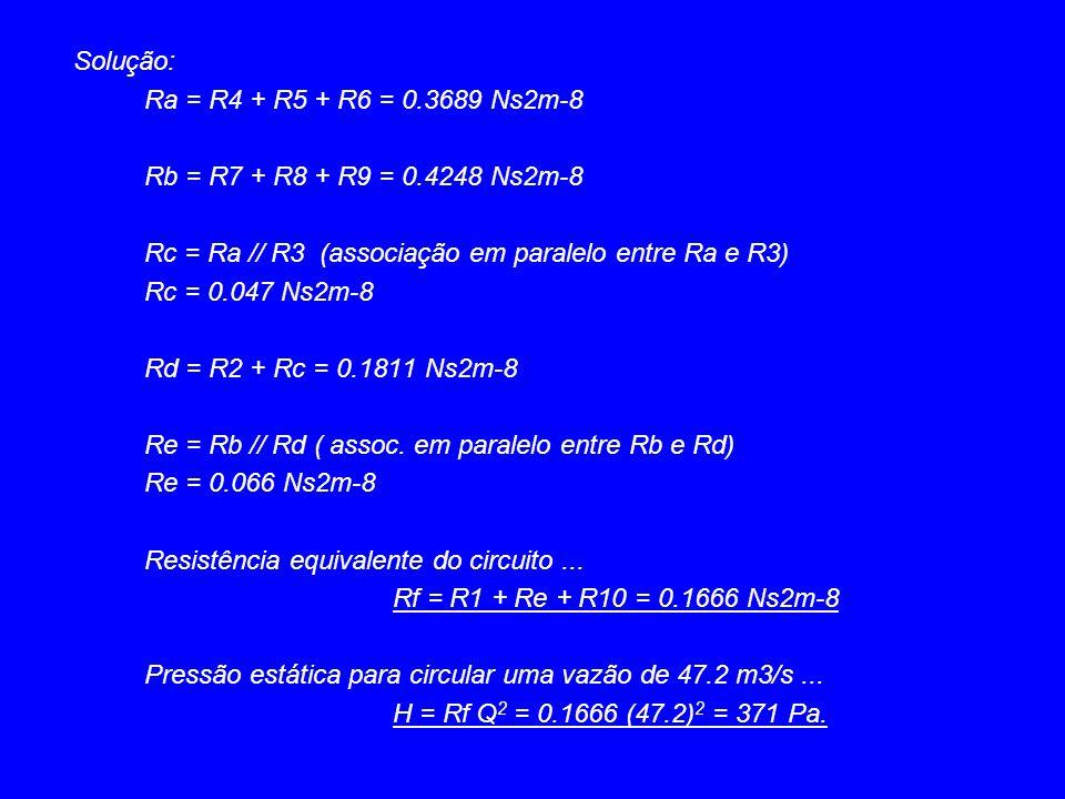Solução: Ra = R4 + R5 + R6 = 0.3689 Ns2m-8. Rb = R7 + R8 + R9 = 0.4248 Ns2m-8. Rc = Ra // R3 (associação em paralelo entre Ra e R3)