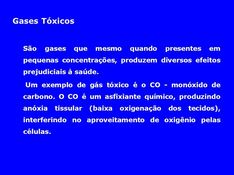 Gases Tóxicos São gases que mesmo quando presentes em pequenas concentrações, produzem diversos efeitos prejudiciais à saúde.