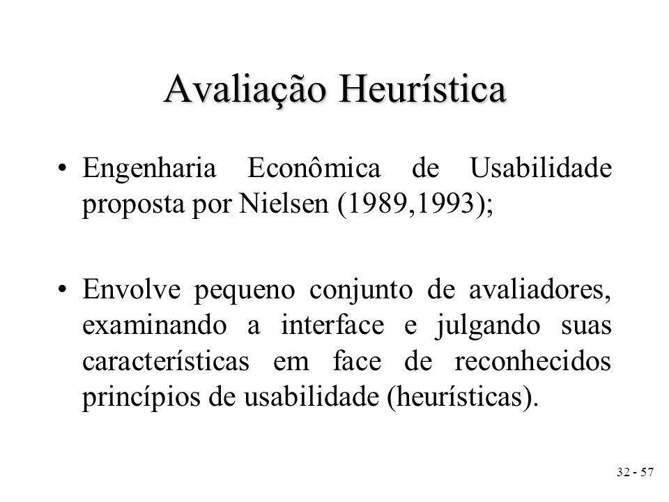 Avaliação Heurística Engenharia Econômica de Usabilidade proposta por Nielsen (1989,1993);