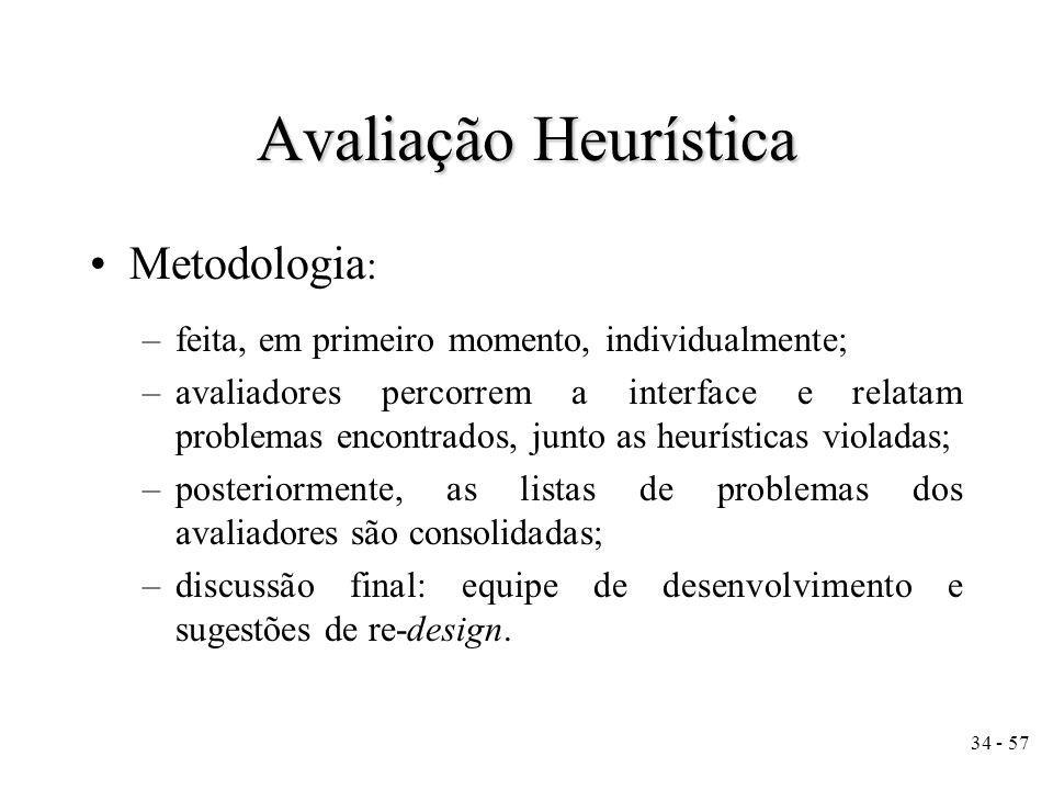 Avaliação Heurística Metodologia:
