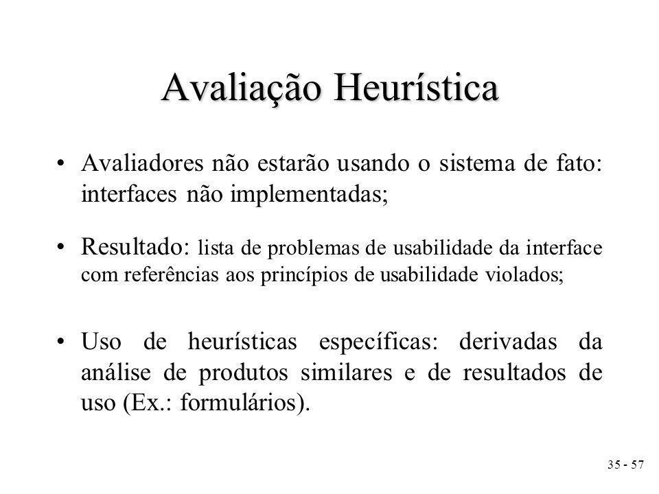 Avaliação Heurística Avaliadores não estarão usando o sistema de fato: interfaces não implementadas;