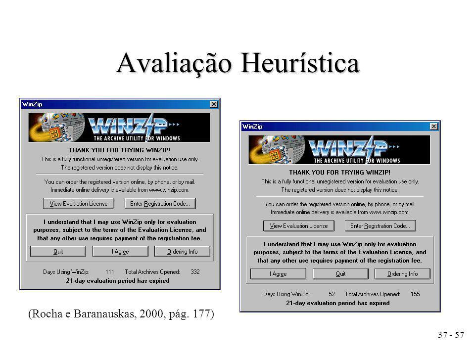 Avaliação Heurística (Rocha e Baranauskas, 2000, pág. 177)