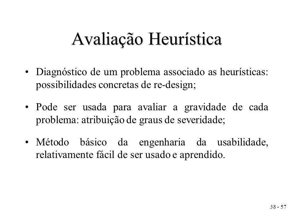Avaliação Heurística Diagnóstico de um problema associado as heurísticas: possibilidades concretas de re-design;