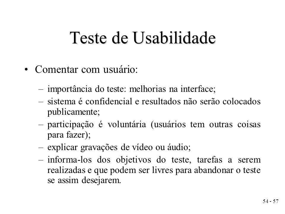 Teste de Usabilidade Comentar com usuário: