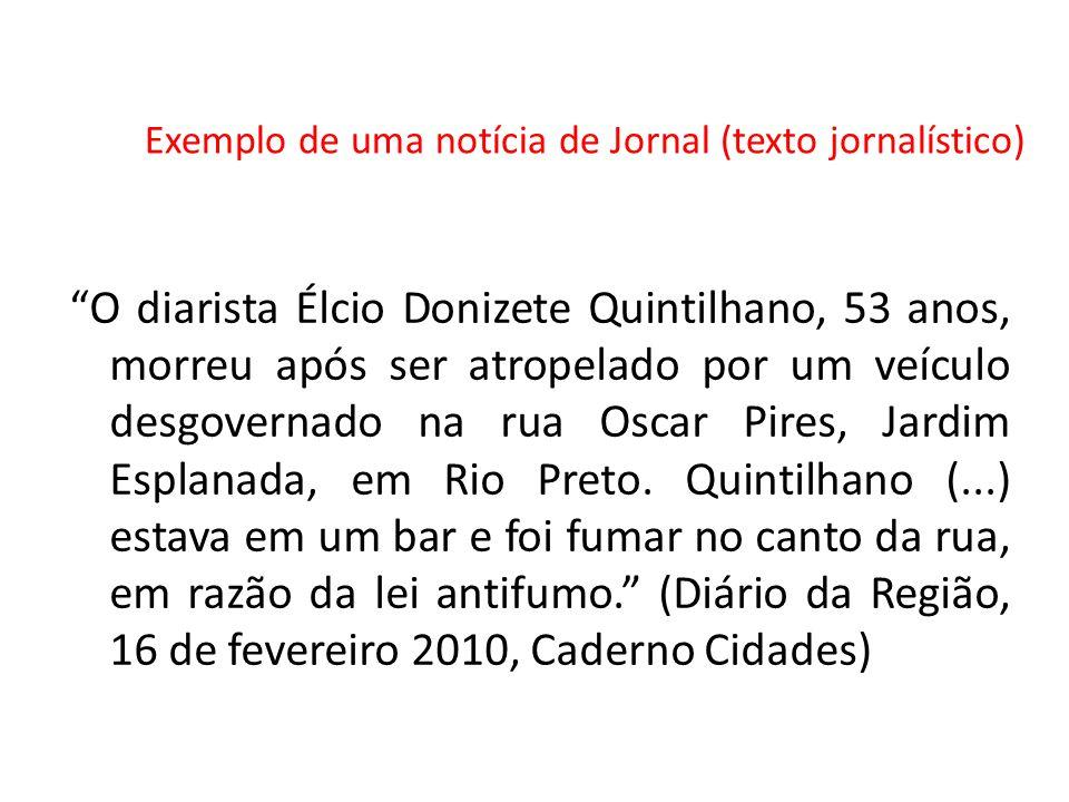 Exemplo de uma notícia de Jornal (texto jornalístico)