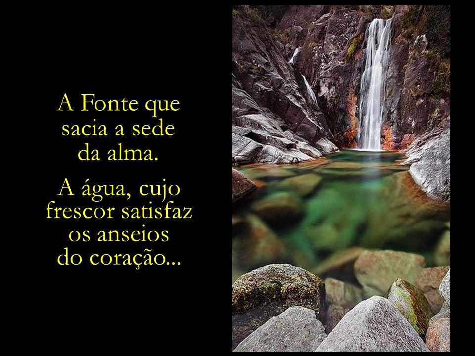 A água, cujo frescor satisfaz os anseios do coração...