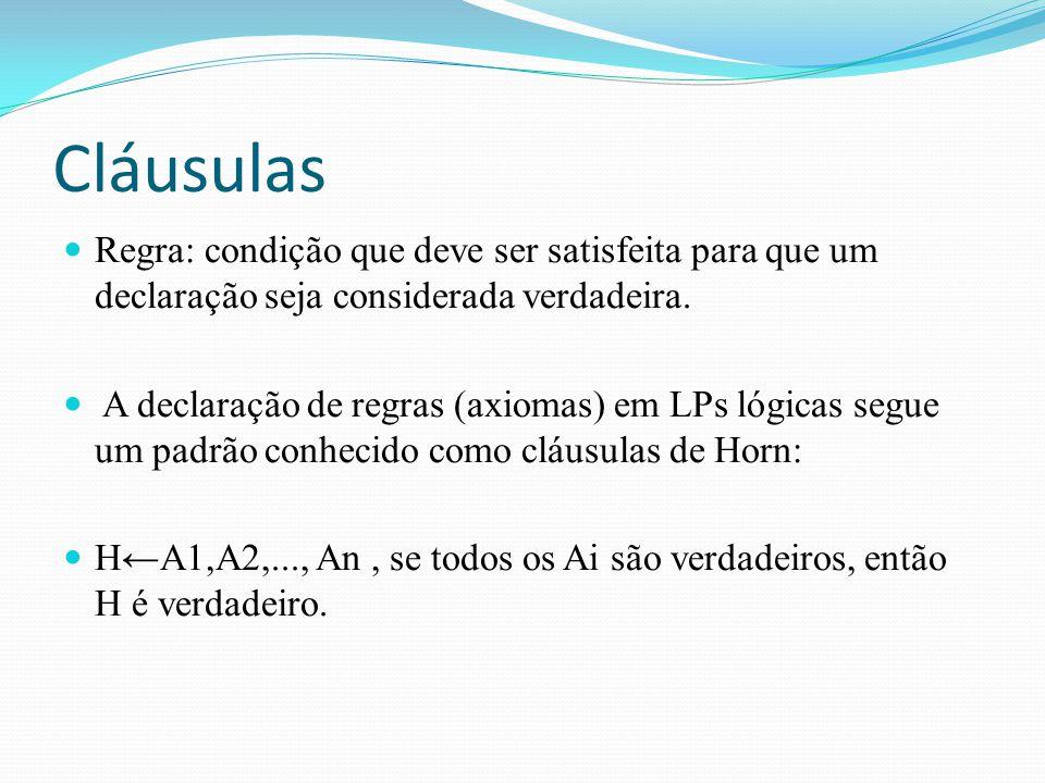 Cláusulas Regra: condição que deve ser satisfeita para que um declaração seja considerada verdadeira.