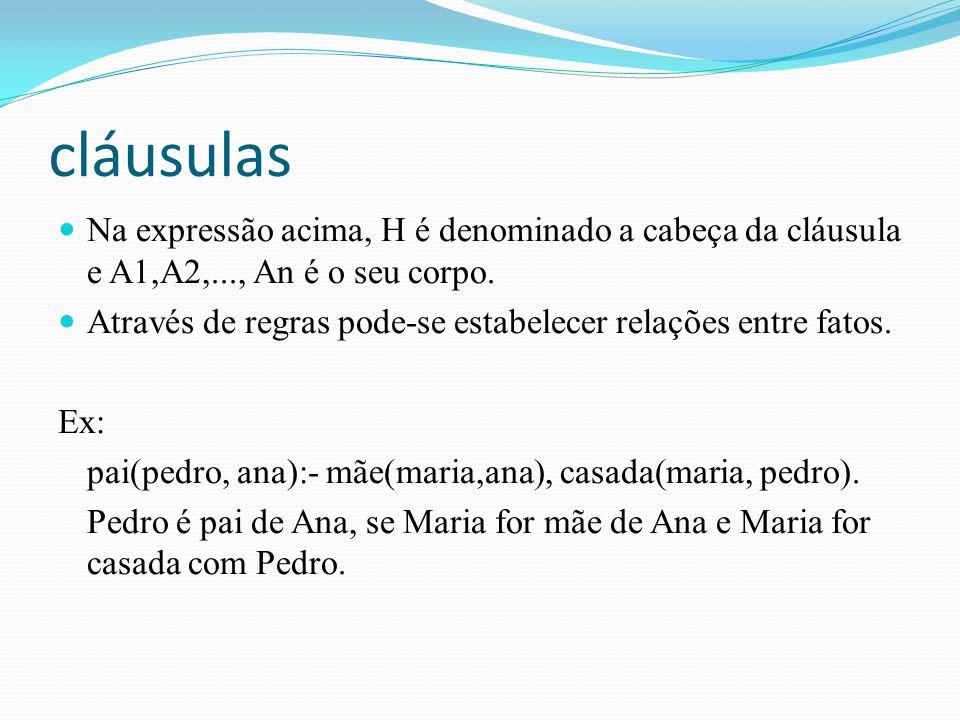 cláusulas Na expressão acima, H é denominado a cabeça da cláusula e A1,A2,..., An é o seu corpo.
