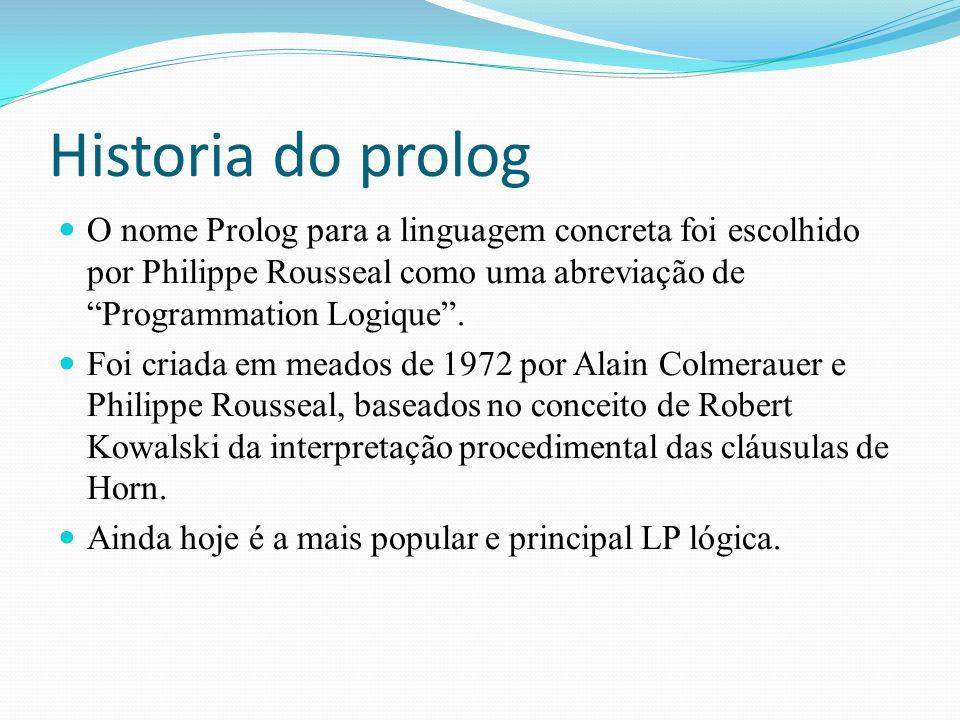 Historia do prolog O nome Prolog para a linguagem concreta foi escolhido por Philippe Rousseal como uma abreviação de Programmation Logique .