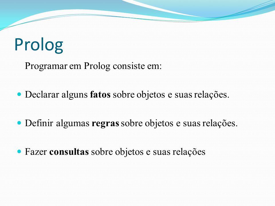 Prolog Programar em Prolog consiste em: