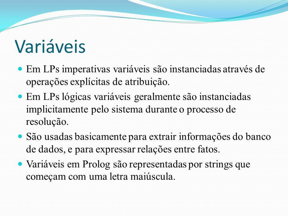 Variáveis Em LPs imperativas variáveis são instanciadas através de operações explícitas de atribuição.