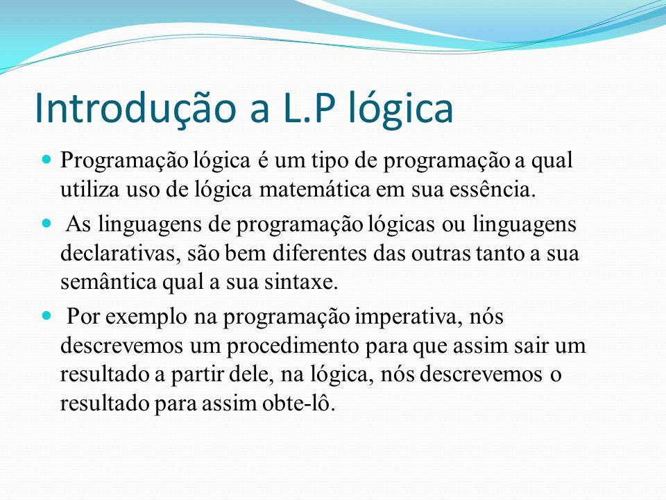 Introdução a L.P lógica Programação lógica é um tipo de programação a qual utiliza uso de lógica matemática em sua essência.